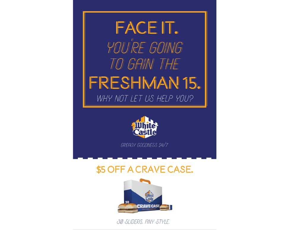 Direct mail would be sent to freshman dorms that are in close proximity to a White Castle.