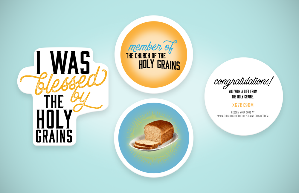 Stickers would be placed inside the Ezekiel 4:9 bread bags. Some of the stickers would have a code on the back that could be redeemed for free items, such as: t-shirts, bracelets, and pins on the Church of the Holy Grains website,