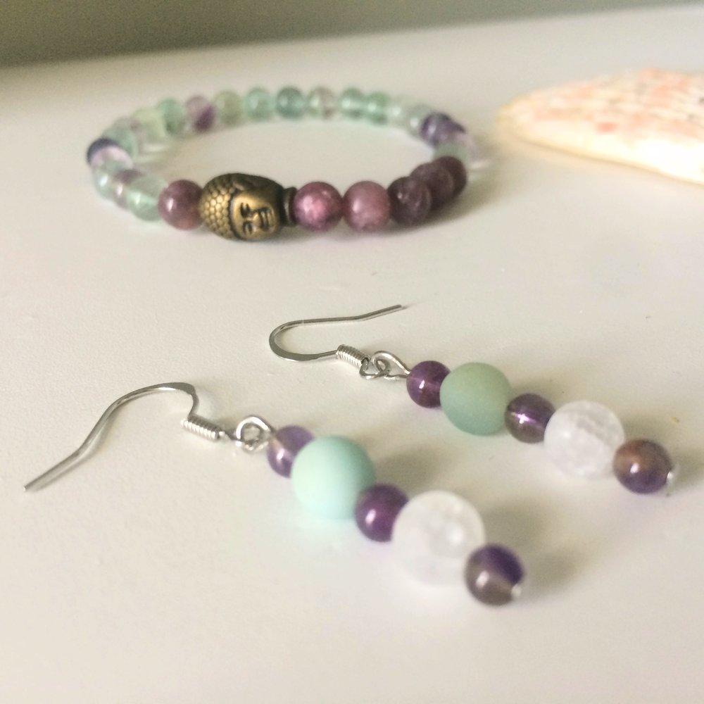 Gemstone Bracelet with Antique Buddha Bead, Lepidolite + Fluorite and Dangle Earrings with Amethyst, Amazonite + Quartz