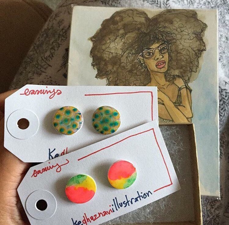 Customer photo with a free mini watercolor painting gift that I included in her package.