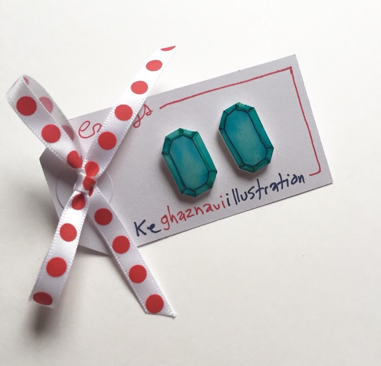 Teal faux jewel earrings.