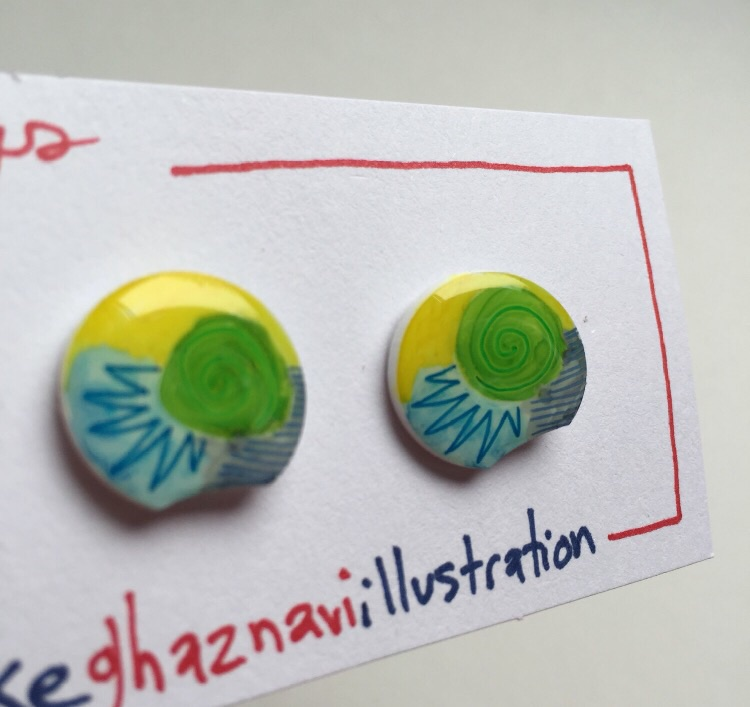 Funky little earrings.