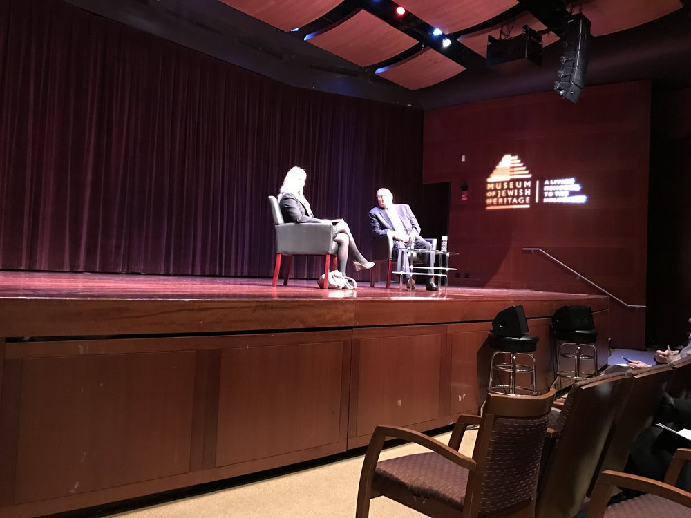 Susan Corke on stage at the Museum of Jewish Heritage