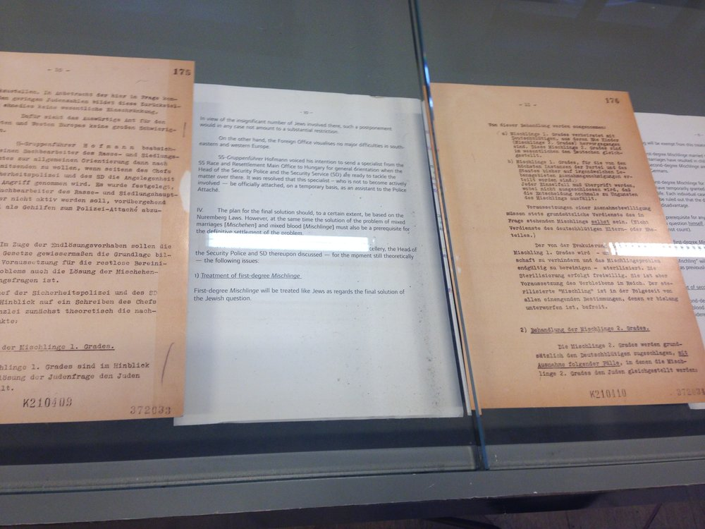 Pages from the documents at the House of the Wannsee Conference that specifically mention the Mischlinge.