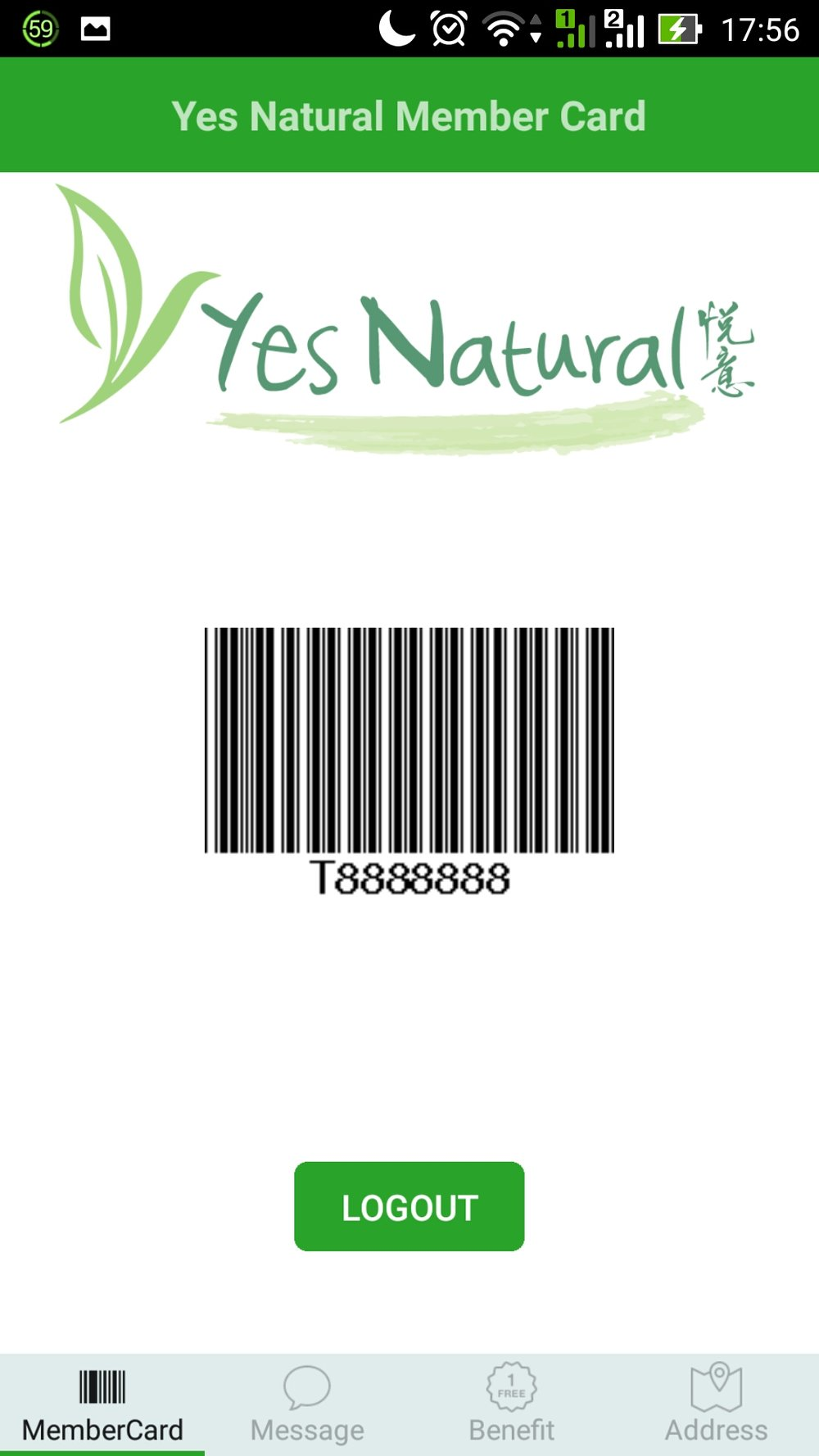 Yes Natural Membership App Login Screen After Login.jpg