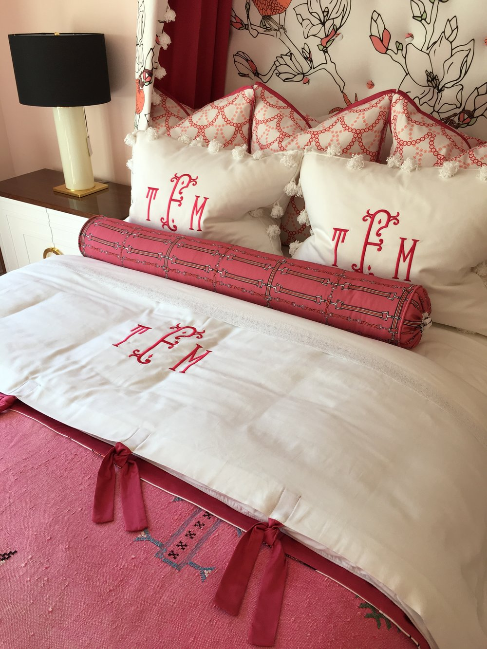 Equestrian Plaid in Coral Bolster