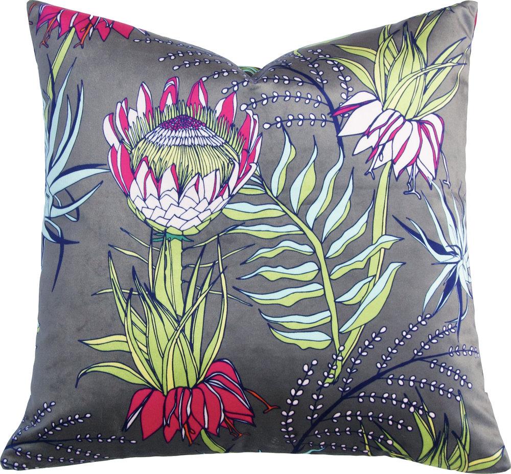 King Protea Pillow_Olive_Velvet.jpg