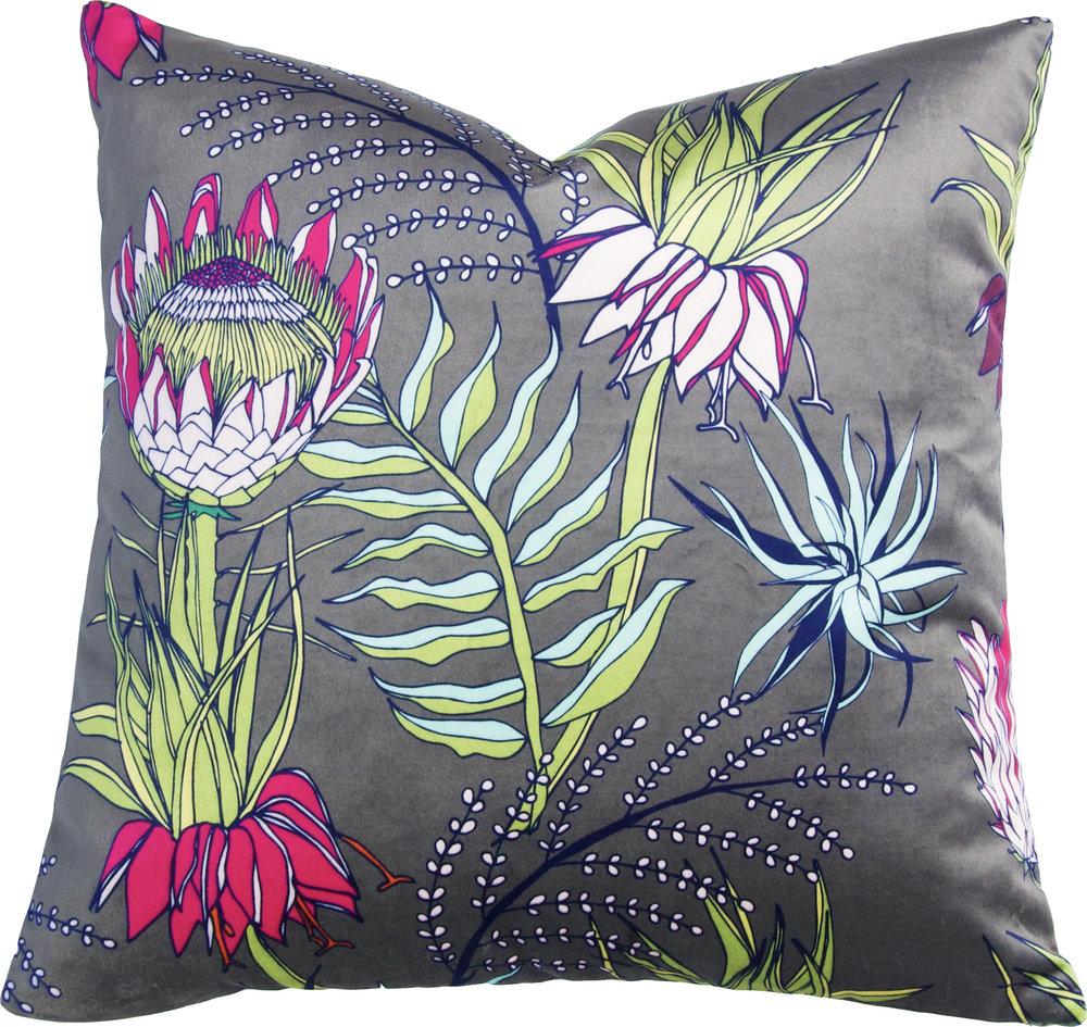 King Protea Pillow_Olive_Velvet II.jpg