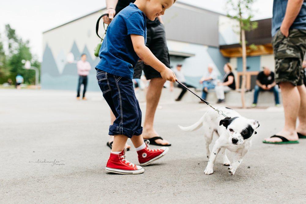 Young boy wearing red converse walking small dog in school playground as dog drags him away.