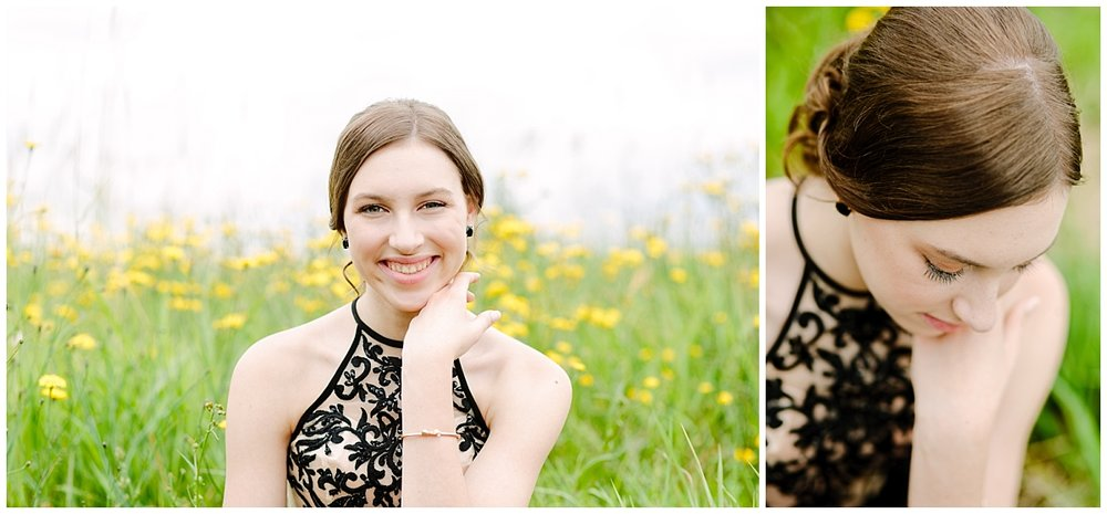 abbotsford-british-columbia- prom photographer- graduation photographer- senior photography- prom- girl sitting in field of yellow flowers in formal gown- claudia-wyler-photography