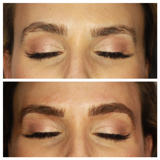 Here is the before and after Amy took while she was doing my brows. I came straight from work so I still had my glam face on!