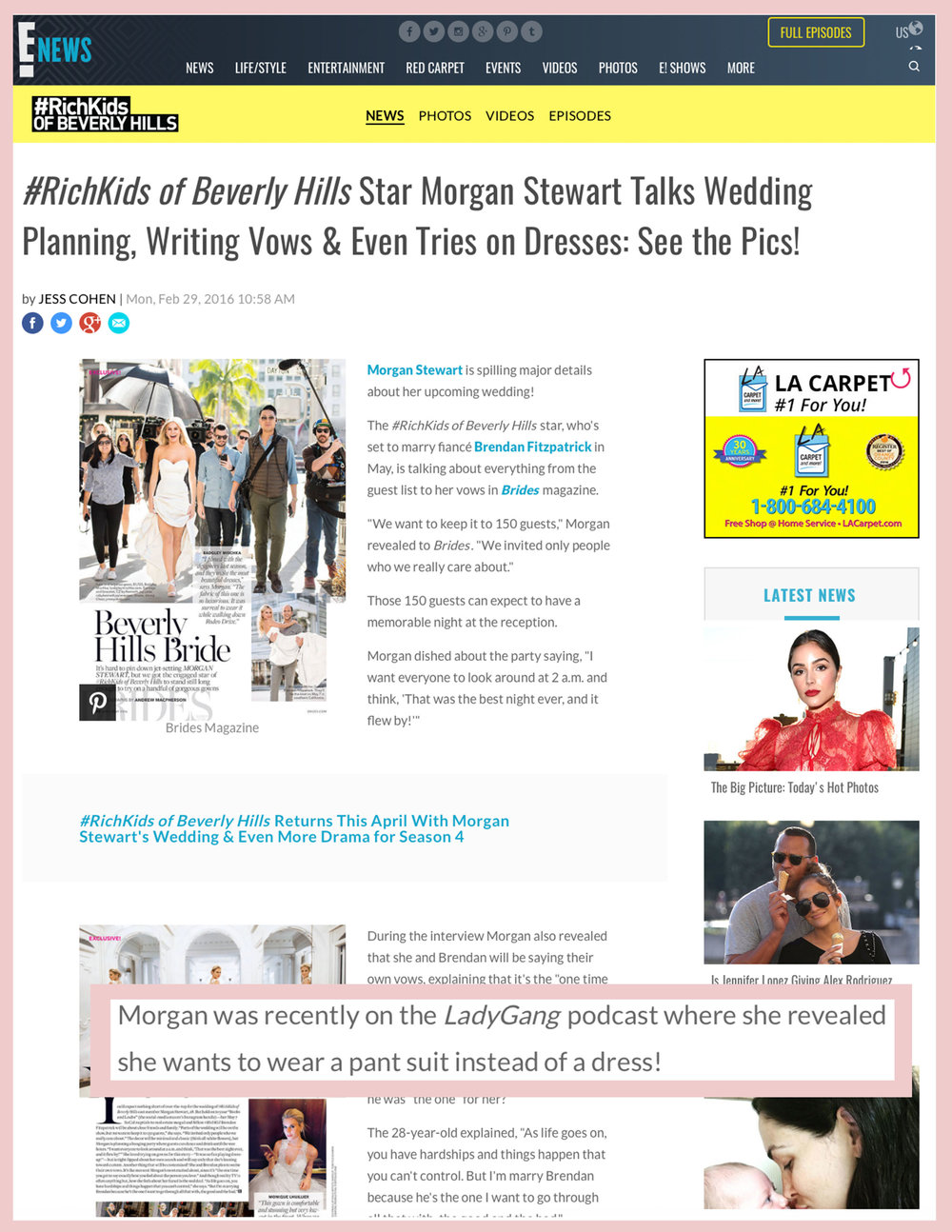 E NEWS LADYGANG RICH KIDS OF Beverly Hills MORGAN STEWART THE LADYGANG