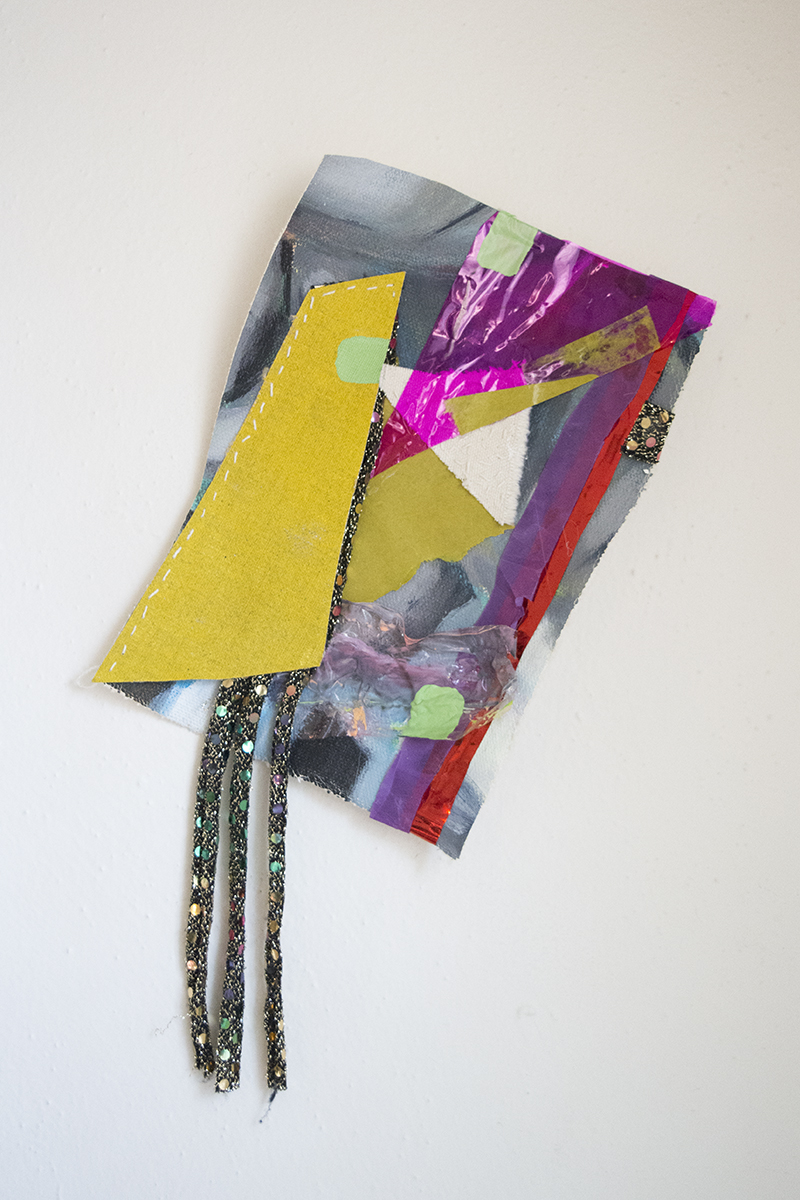"""Oil and Acrylic on Canvas, Rhinestones, Feather, Bark, Cellophane, Paper, Cardboard,and Fabric with Sequence  12""""x7""""  2017"""