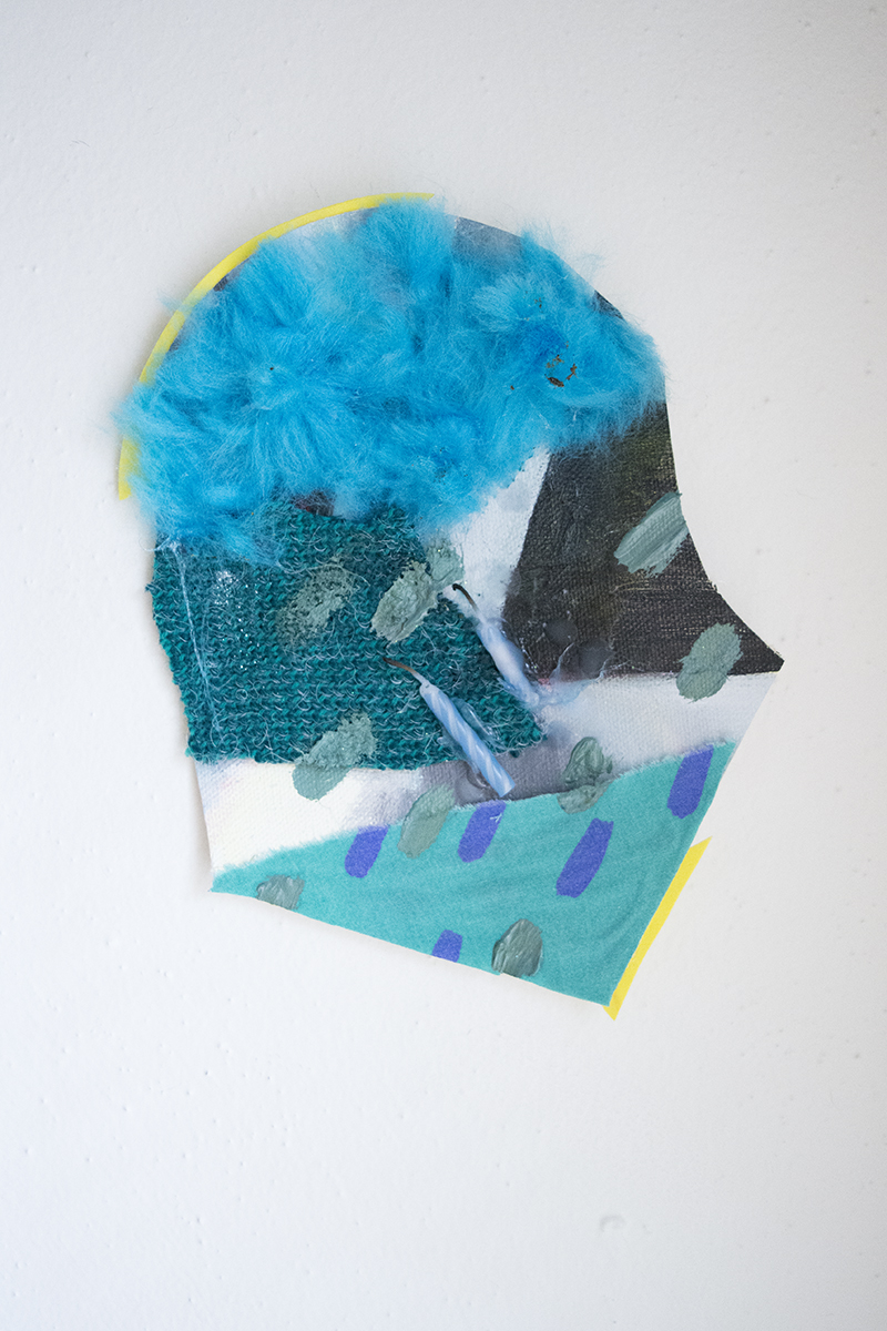 """Acrylic and Oil on Canvas, Pom-pom, Fabric, Glitter, Foam and Candles  8""""x6""""  2016"""