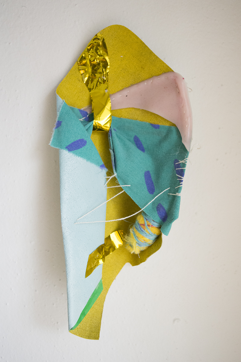 """Acrylic on Canvas, Metallic Plastic, Rubber, Fabric, Rubber Bands, String and Foam  10""""x4""""  2016"""