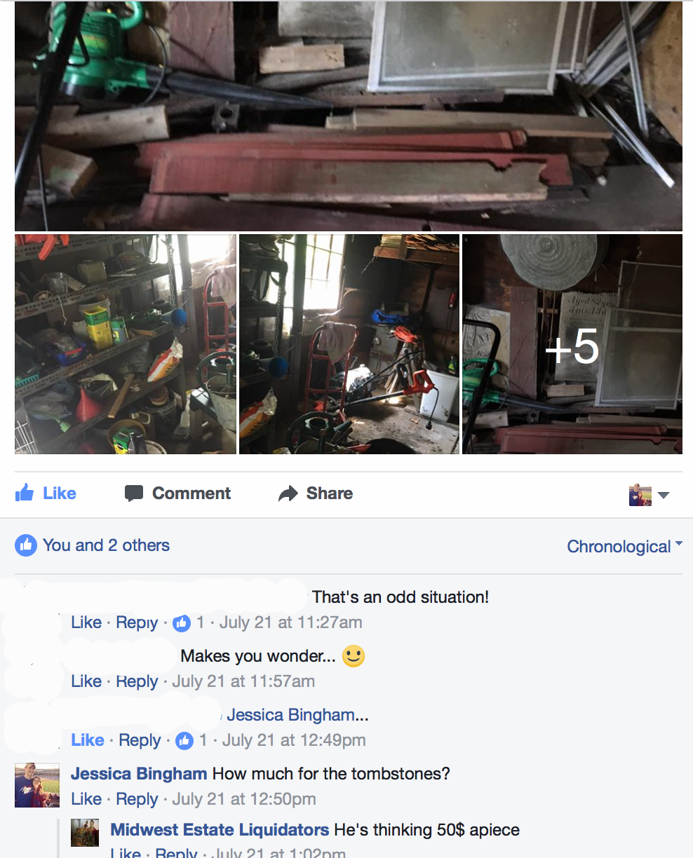 Facebook thread about the sale of Asenath's tombstone.