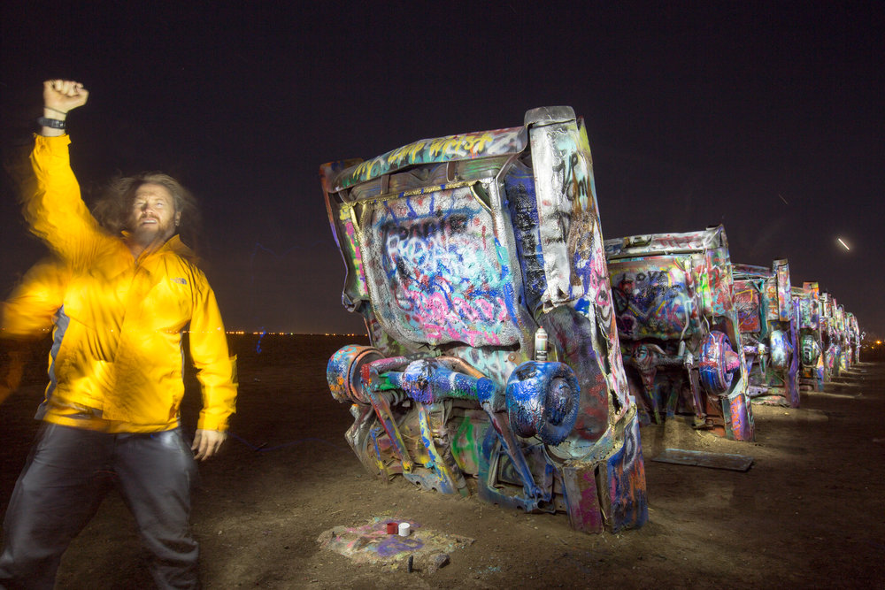 "Selfie at the infamous ""Cadillac Ranch"" west of Amarillo, Texas."