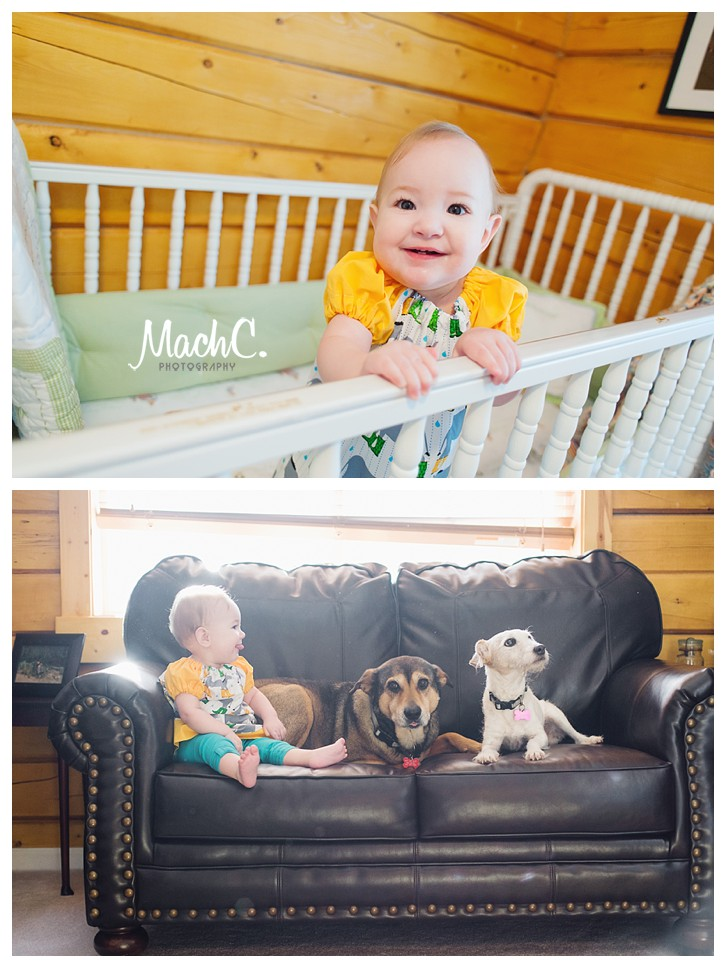 fun family portraits in an alaskan home