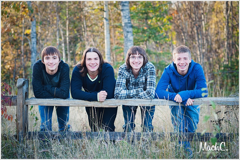 photographing a family of teen boys outdoors