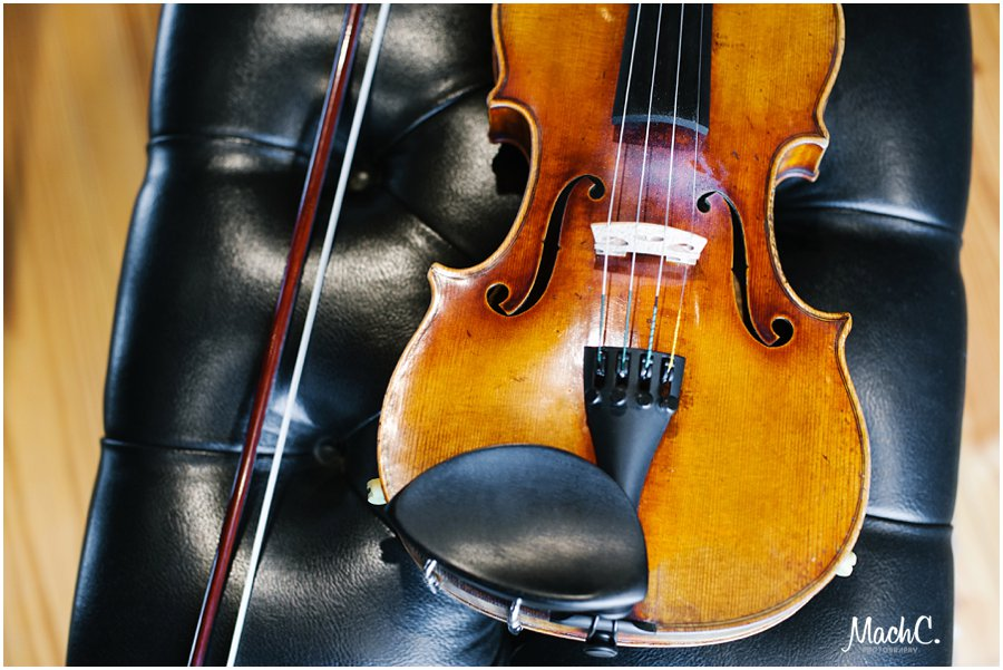 violin as part of the photoshoot