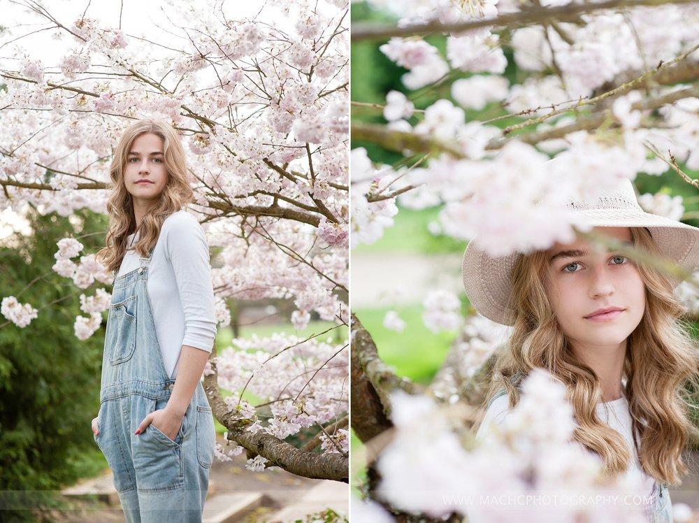 senior girl in cherry blossoms