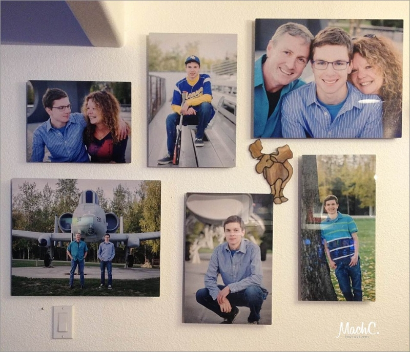 Photos up on the family wall, Senior Boy for his Senior Photoshoot. Photos with parents and dreams of becoming a fighter pilot.