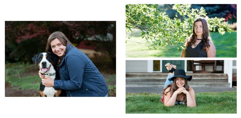 Jacky poses with her dog, in a field near a tree with backlighting, and with her hat - a senior session that reflects her and what she's all about