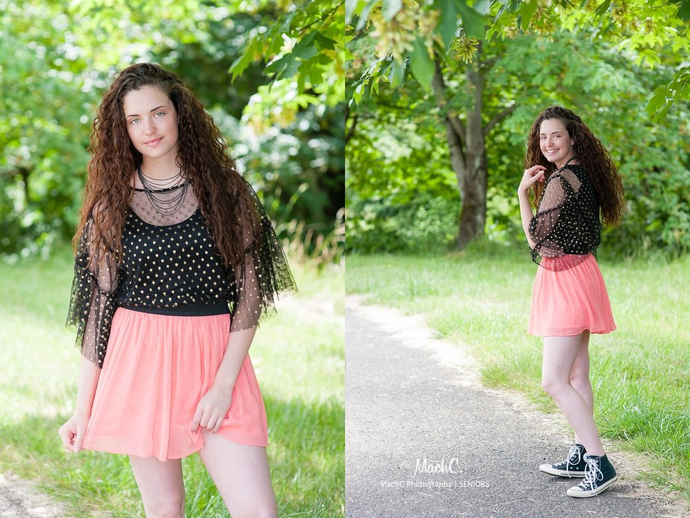 Senior Girl smiling - polka dots & peach tones