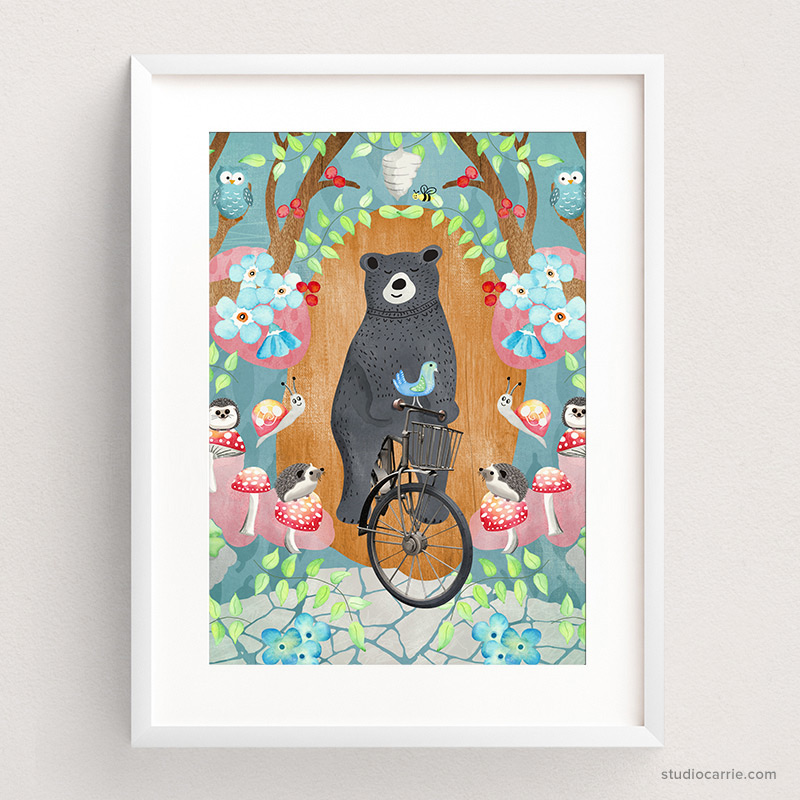 Bicycle Riding Bear Print by Studio Carrie