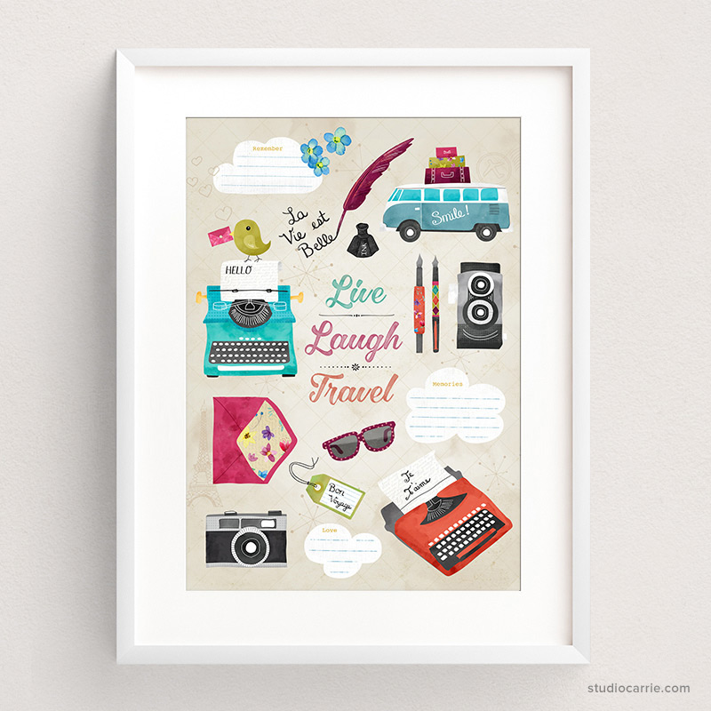 Live, Laugh, Love, Travel Art Print by Studio Carrie