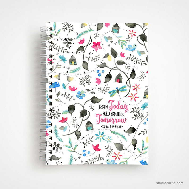 Copy of Begin Today for a Brighter Tomorrow Idea Journal Notebook by Studio Carrie