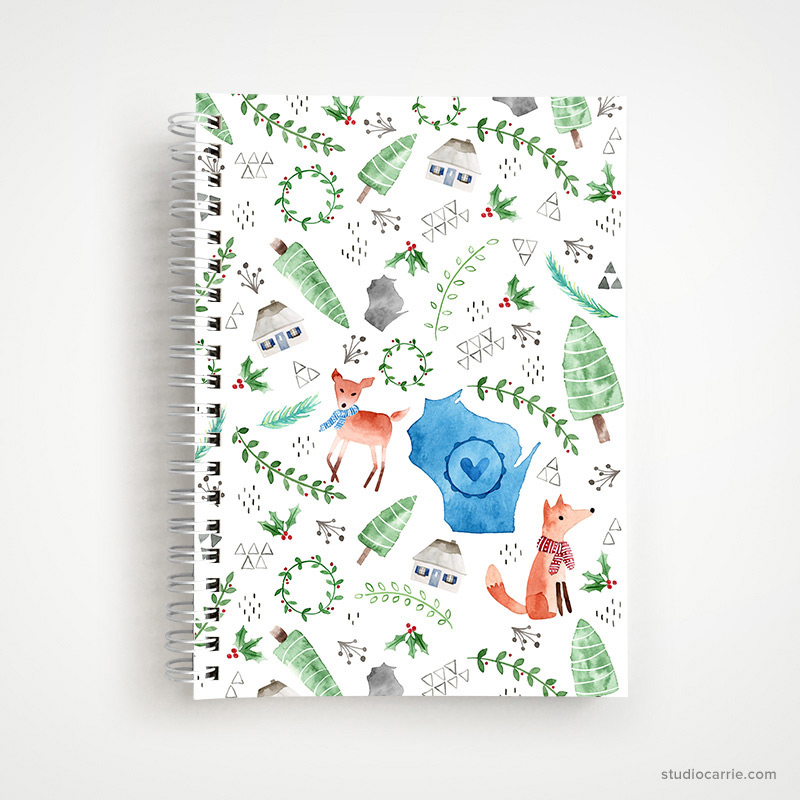 Wisconsin Christmas Notebook by Studio Carrie
