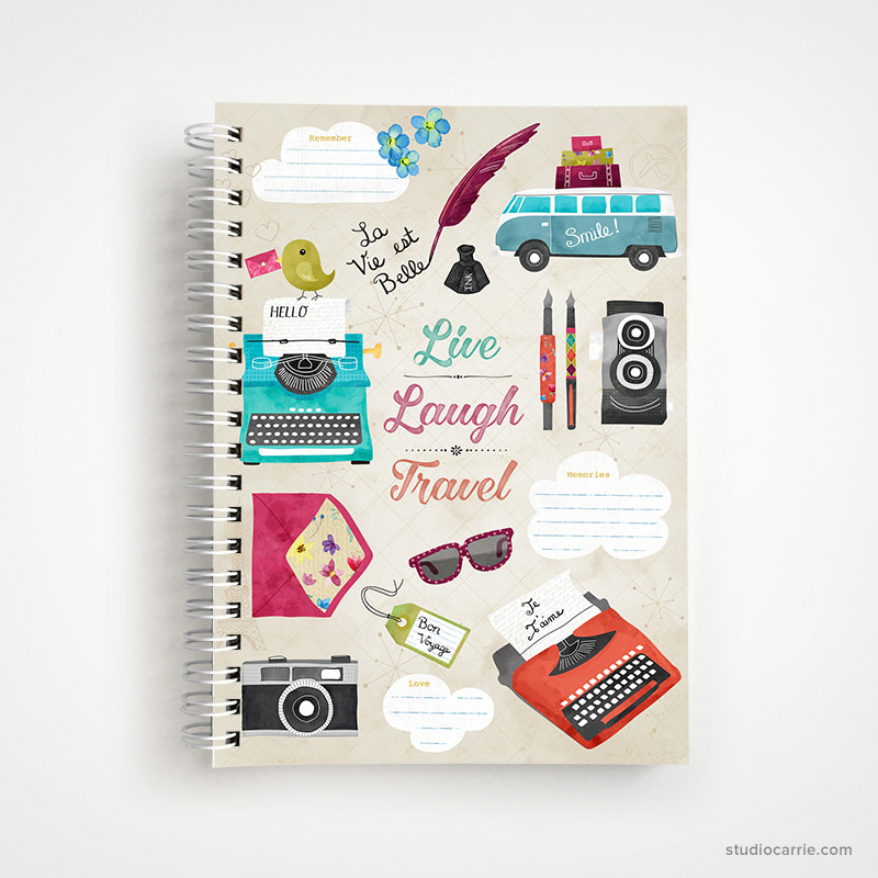 Live, Laugh, Love, Travel Notebook by Studio Carrie