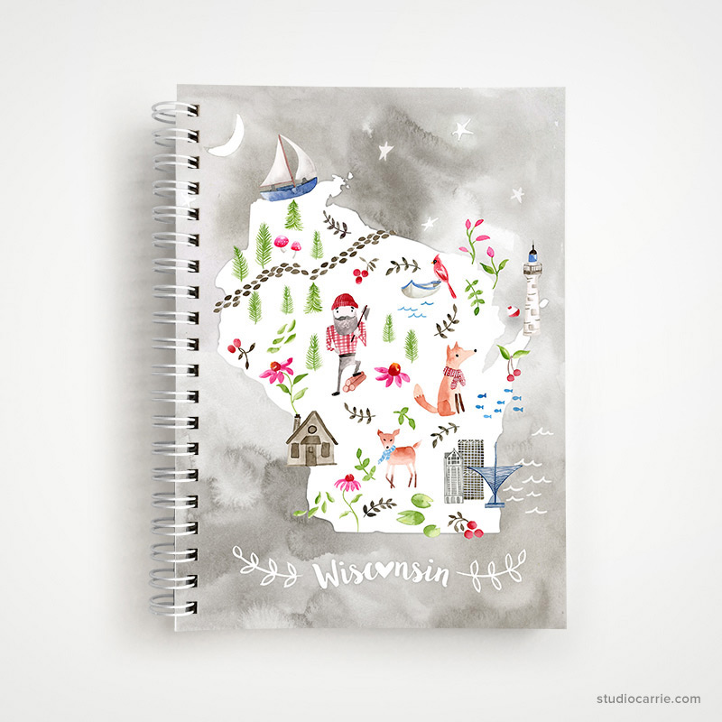 Wisconsin Collage Notebook by Studio Carrie