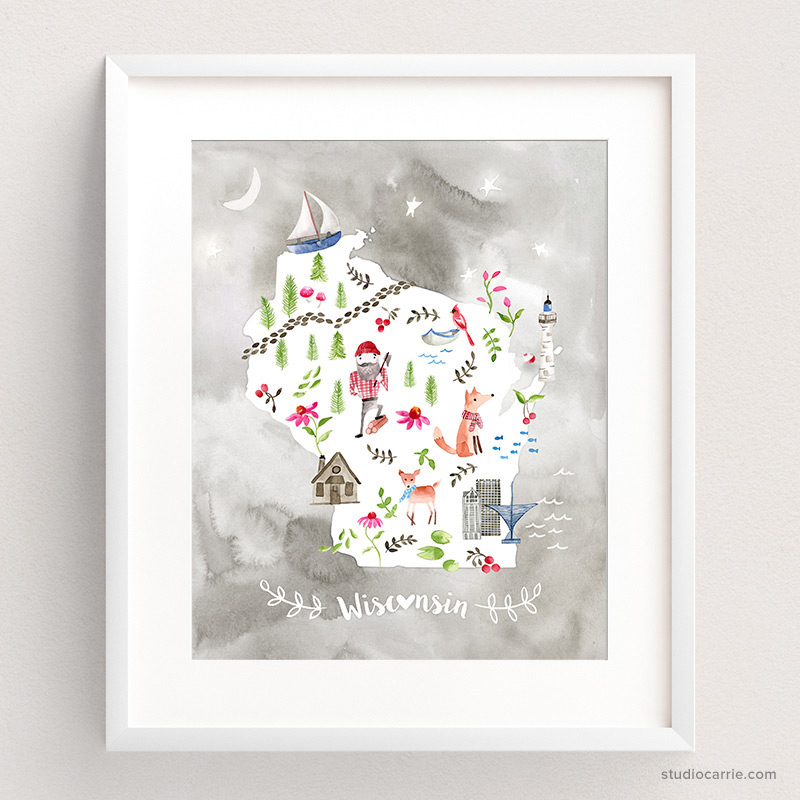 Copy of Wisconsin Collage Watercolor Art Print by Studio Carrie