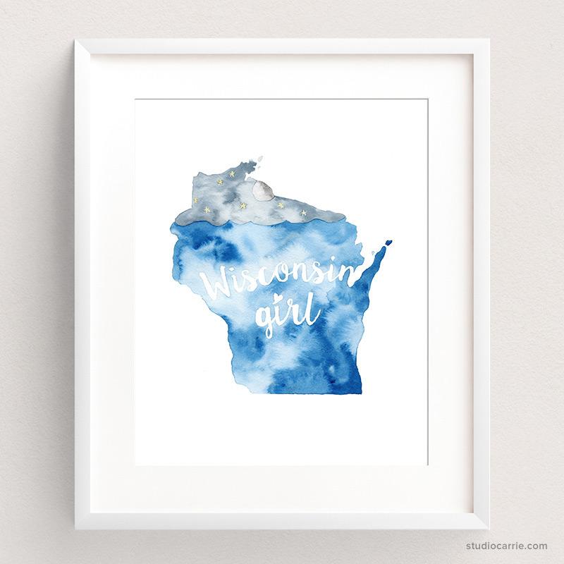 Wisconsin Girl Watercolor Art Print by Studio Carrie