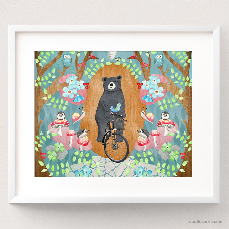 Bicycle Riding Bear Art Print Collage by Studio Carrie