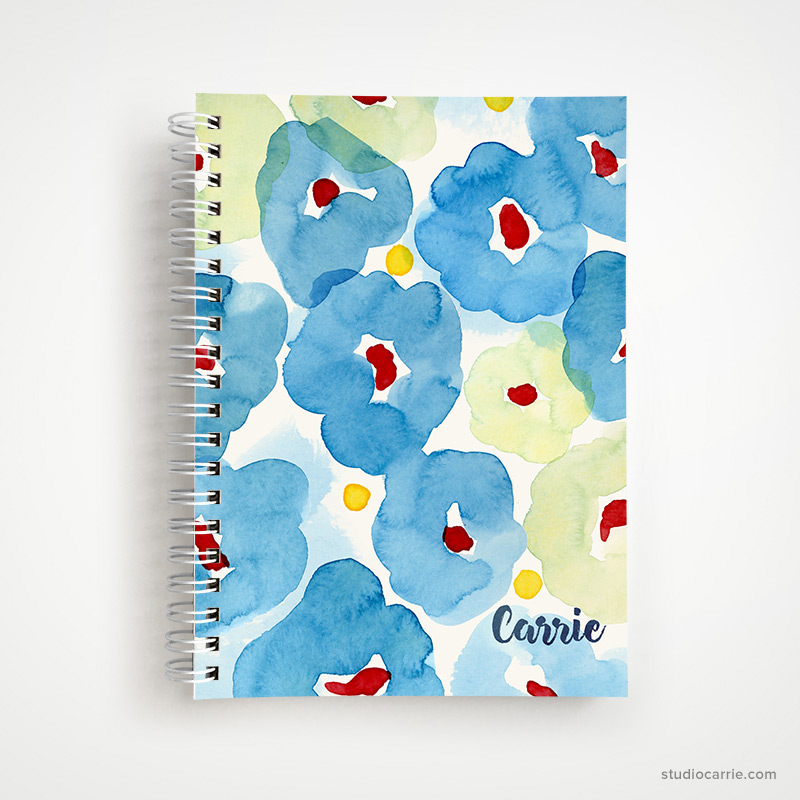 Custom Blue Floral Notebook by Studio Carrie