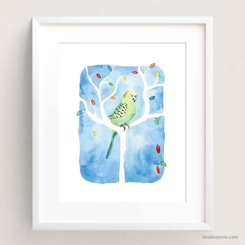 Copy of Green Parakeet Watercolor Art Print by Carrie Chapko