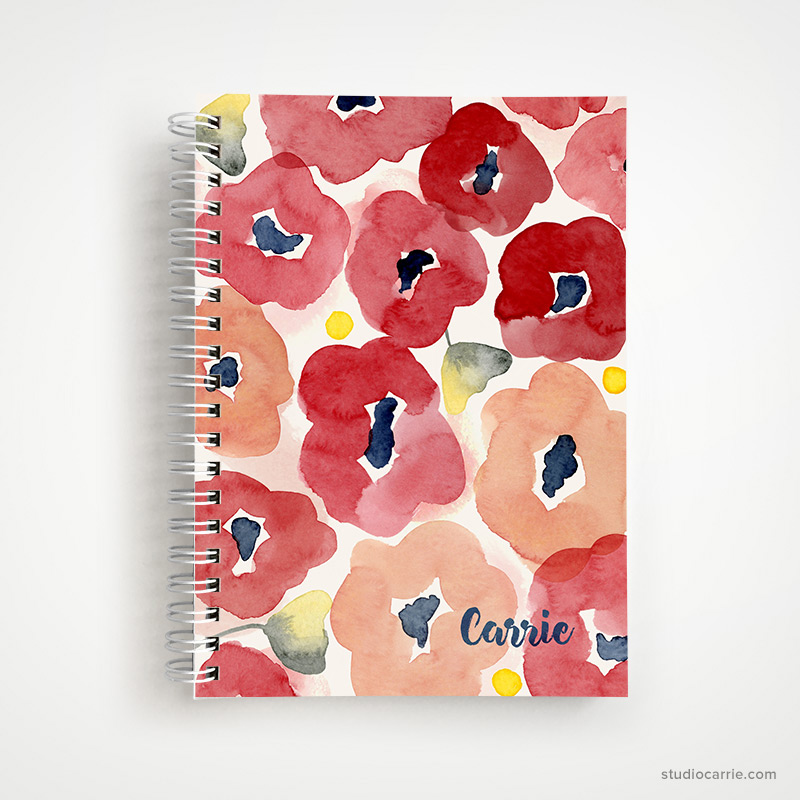 Custom Red Floral Notebook by Studio Carrie