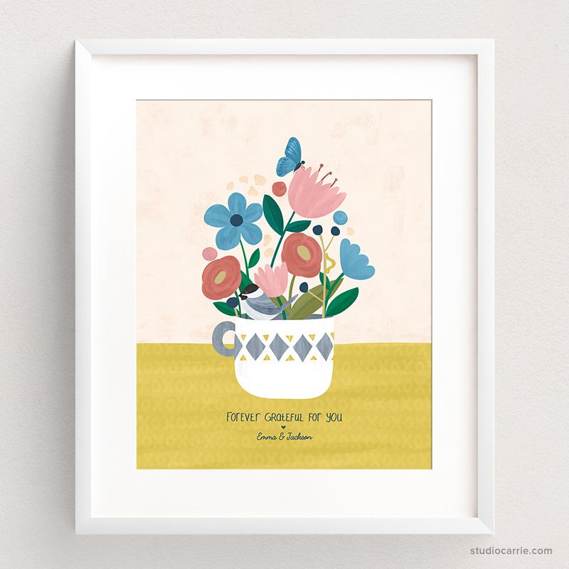 Custom Forever Flowers Art Print by Studio Carrie