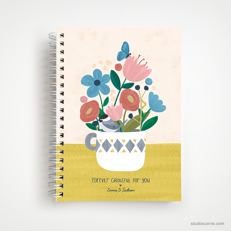 Custom Forever Flowers Notebook by Studio Carrie