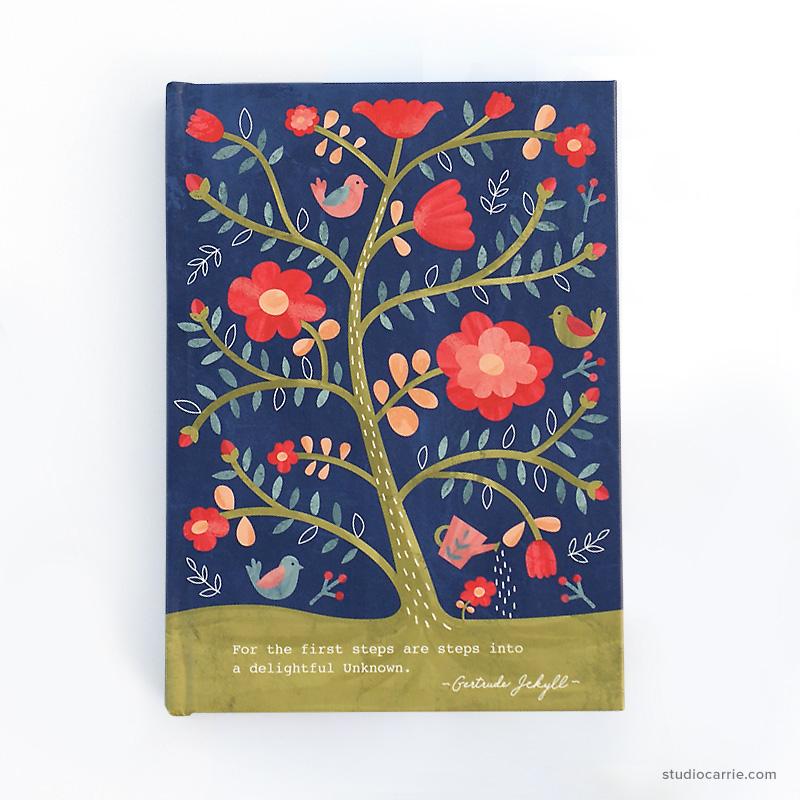 Rose Tree Flower Hardcover Journal