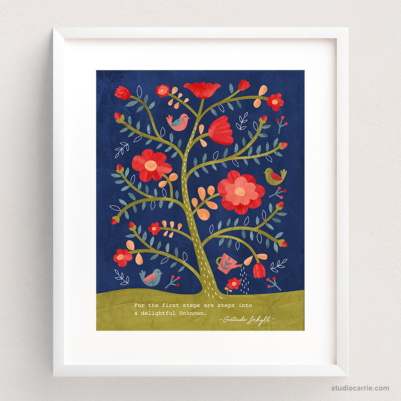 Rose Tree Flower Print