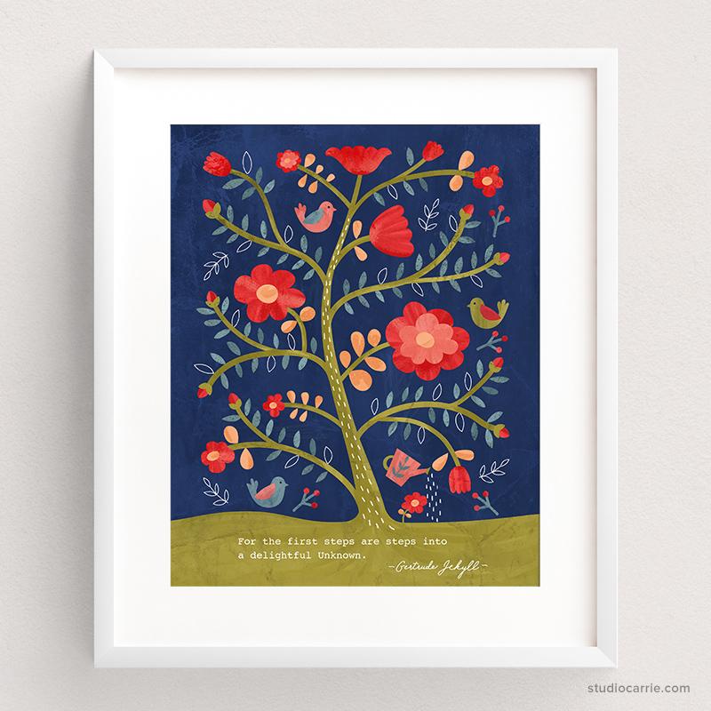 Rose Tree Flower Print