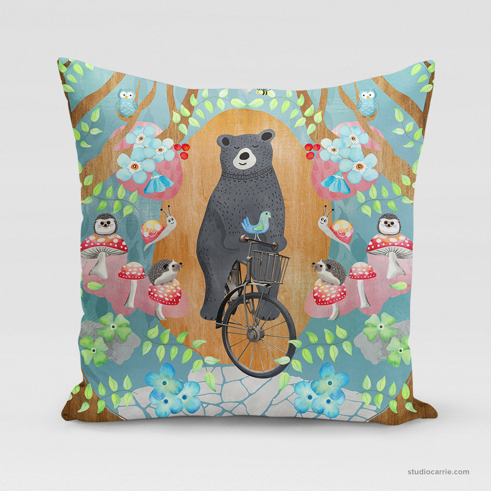 Bicycle Riding Bear Square Pillow by Studio Carrie