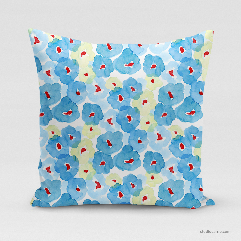 Blue Floral Square Pillow by Studio Carrie