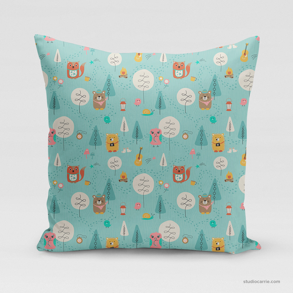 Let's Camp Children's Square Pillow by Studio Carrie