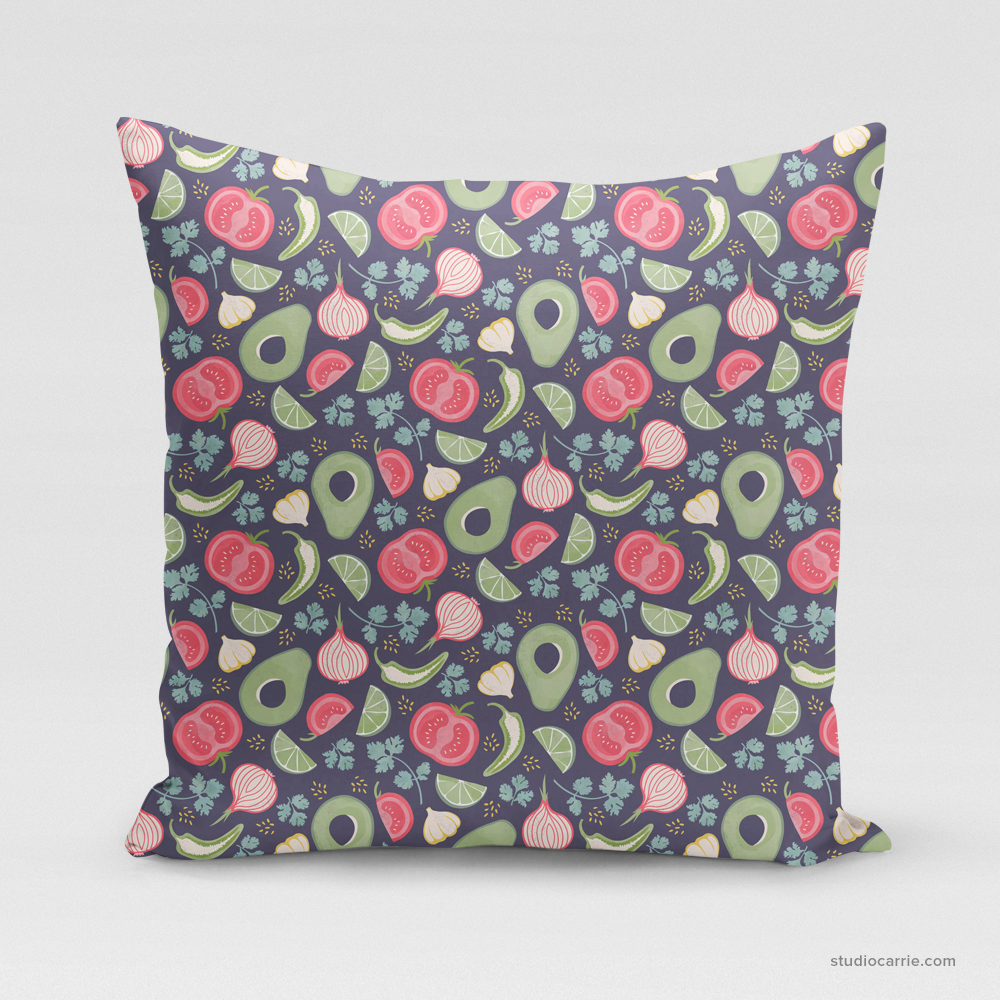 Guacamole Patterned Square Pillow by Studio Carrie