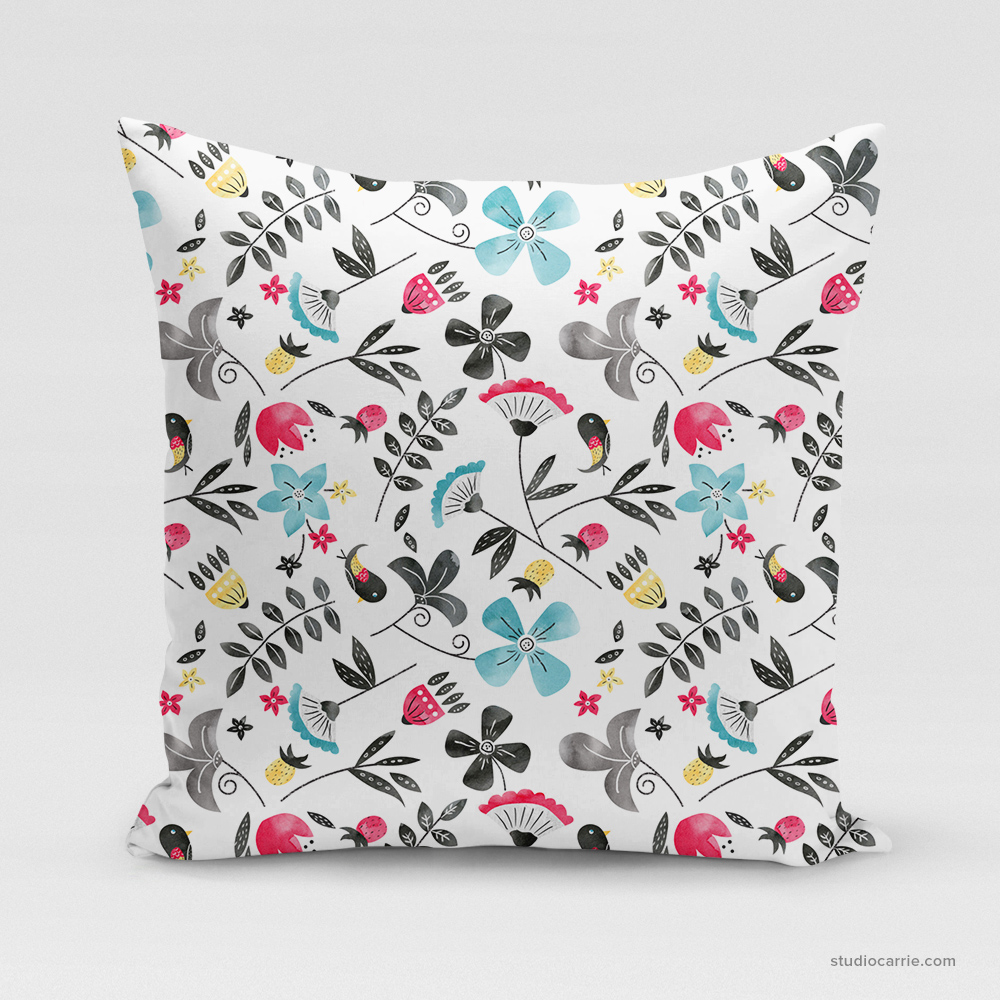 Retro Flowers Square Pillow by Studio Carrie